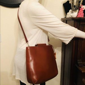 BROWN LEATHER MESSENGER CROSS BODY PURSE BAG TOTE